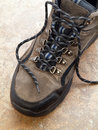 Hiking Boot with shoelace closeup Royalty Free Stock Photos