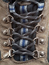 Hiking Boot shoelace front detail Royalty Free Stock Photos