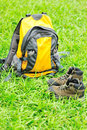 Hiking boots and bag Royalty Free Stock Photos