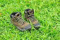 Hiking boots on grass Royalty Free Stock Photo