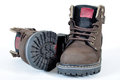 Hiking boots shoes and a white background Stock Photography