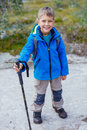 Hiking boy in the mountains Royalty Free Stock Photo