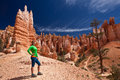 Hiking in bryce canyon wind erosion landforms Royalty Free Stock Image