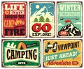 Hiking and camping retro signs collection Royalty Free Stock Photo