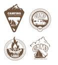 Hiking and camping retro vector labels, emblems, logos, badges