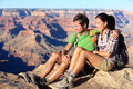 Hiking couple portrait - hikers in Grand Canyon Stock Photography