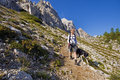 Hiking with dog young woman on a sunny day in high mountains Royalty Free Stock Image