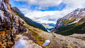 Hiking down to Lake Louise in Banff in the Rocky Mountains Royalty Free Stock Photo