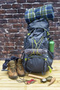 Hiking equipment, rucksack, boots and backpack. Royalty Free Stock Photo