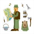 Hiking Equipment Vector Illustration Set
