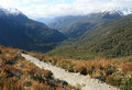 Hiking fiordland new zealand through glacier valley Stock Image