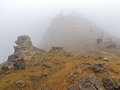 Hiking in the fog during a foggy day at tongariro national park it is oldest national park new zealand and has been acknowledged Royalty Free Stock Photos