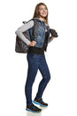 Hiking girl hiker backpack binoculars full length Royalty Free Stock Photography