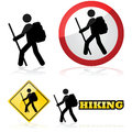 Hiking icons icon set showing a man carrying a backpack and a stick Stock Images