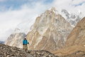 Hiking in the karakorum mountains northern pakistan Royalty Free Stock Photo
