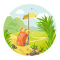 Hiking mountain landscape vector illustration Royalty Free Stock Photo