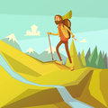 Hiking and mountaineering illustration cartoon background with river peaks forest vector Royalty Free Stock Images