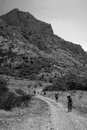 stock image of  Hiking in the mountains bw