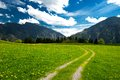 Hiking path in the bavarian alps german Royalty Free Stock Images