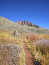 Hiking path in Maroon Bells Snowmass Wilderness, USA. Royalty Free Stock Photo