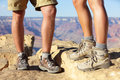 Hiking shoes on hikers in Grand Canyon Stock Photo