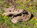 Hiking shoes in meadow with flowers a pair of worn sandals a grassy yellow Stock Photo