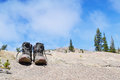 Hiking shoes taking a break Royalty Free Stock Photo