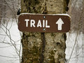 Hiking Sign - Trail Marker Winter Royalty Free Stock Photo