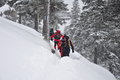 Hiking in snowstorm winter scene on the mountain with a group of tourists thick snow bucegi mountains malaesti valley Royalty Free Stock Photos