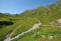 Hiking in sunny alps switzerland Royalty Free Stock Photography