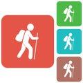 Hiking tourists icon