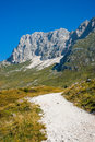 Hiking trail on the mountains altopiano di montasio sella nevea italy Stock Images