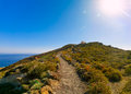 Hiking trail from Oia to Fira in Santorini, Greece Royalty Free Stock Photo