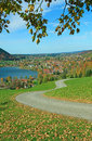 Hiking trail schliersee region bavarian alps with view to village in the Stock Images