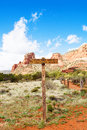 Hiking trail in sedona arizona marker for big park loop and courthouse butte trainls with red rock mountains and a bright blue sky Royalty Free Stock Photography