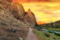 Hiking Trail at Smith Rock State Park central oregon Royalty Free Stock Photo