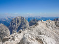 Hiking trail on the top of jof di montasio in alpi giulie friuli italy Royalty Free Stock Photos