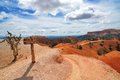 Hiking trails in bryce canyon national park with signpost wide angle photography of Stock Images