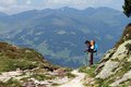 Hiking trekking in the alps zillertal austria Royalty Free Stock Photo