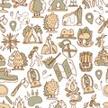 Hiking and trekking travel seamless pattern. Endless repeatable background with cartooning traveling elements about