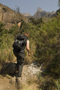 Hiking up Kwa Zulu Natal Stock Photo