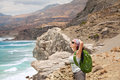 Hiking woman female backpacker enjoying and relaxing Royalty Free Stock Photography