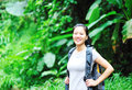 Hiking woman rainforest Stock Photography