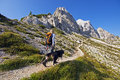 Hiking young woman with dog on a sunny day in high mountains Royalty Free Stock Photography