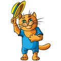 Hilarious cat in a straw hat. Royalty Free Stock Photo