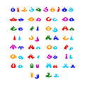 Hilarious comic alphabet different colors Stock Image