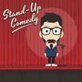 Hilarious guy stand up comedian cartoon male character illustration Stock Photos