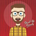 Hilarious guy stand up comedian cartoon male character illustration Royalty Free Stock Photography