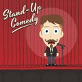 Hilarious guy stand up comedian cartoon Royalty Free Stock Photo
