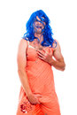 Hilarious transvestite man cross-dressing Royalty Free Stock Image